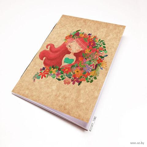"""Блокнот крафт """"Девушка с цветами"""" А5 (939)"""
