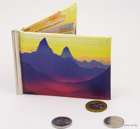"""Зажим для денег с монетницей """"Горы"""" — фото, картинка"""
