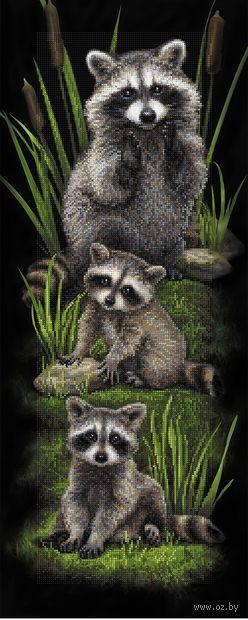 "Алмазная вышивка-мозаика ""Семейство енотов"" (900х350 мм) — фото, картинка"