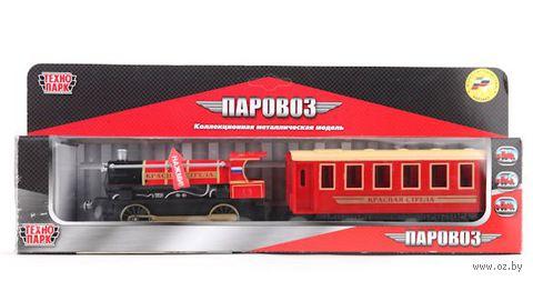 """Модель поезда """"Красная стрела с вагоном"""""""