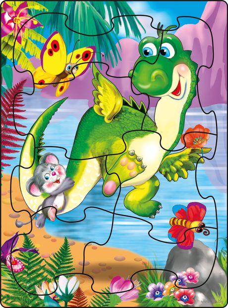 """Пазл-рамка """"Веселый динозаврик"""" (7 элементов) — фото, картинка"""