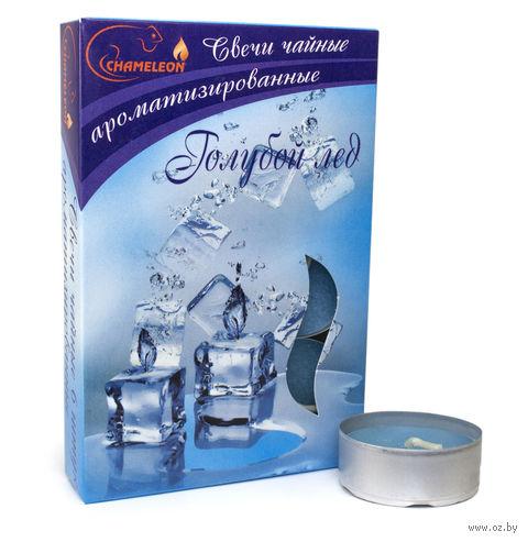 """Набор свечей ароматизированных в металлической гильзе """"Голубой лед"""" (6 шт.) — фото, картинка"""