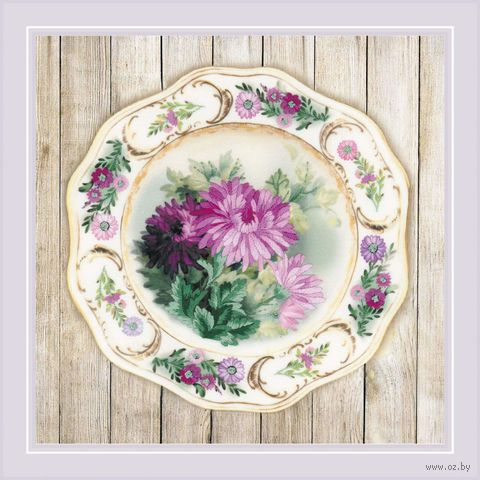 "Вышивка гладью ""Тарелка с хризантемами"" (210х210 мм) — фото, картинка"