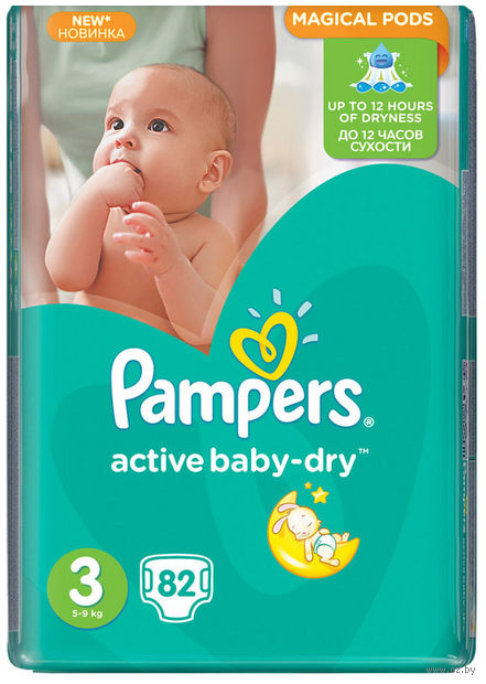 "Подгузники ""Pampers Active Baby-Dry Midi"" (5-9 кг, 82 шт, арт. 8507)"