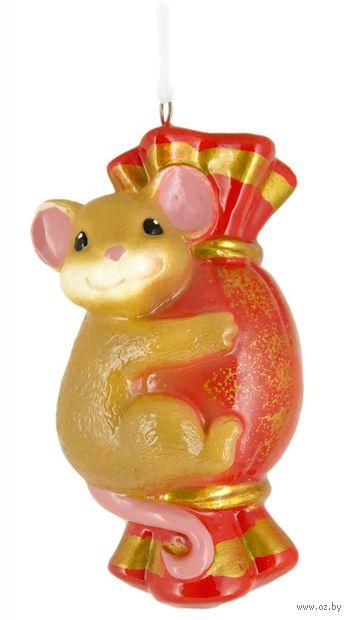 """Ёлочная игрушка """"Мышь с конфетой"""" (арт. ЕГ-29) — фото, картинка"""