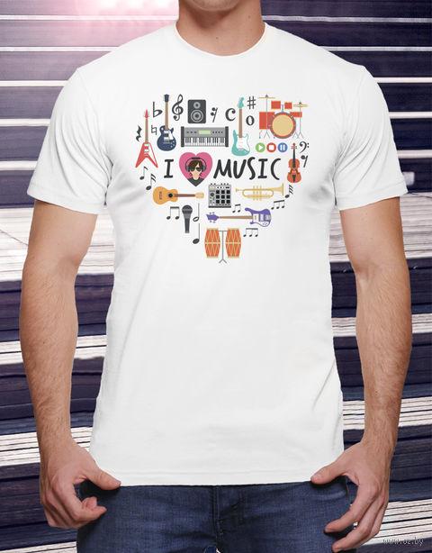 """Футболка мужская """"Love music"""" (размер 56; арт. 15) — фото, картинка"""