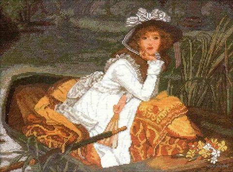 "Вышивка крестом ""Дама в лодке"" (375x280 мм) — фото, картинка"