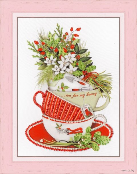 "Вышивка бисером ""Жасминовый чай"" (200х160 мм) — фото, картинка"