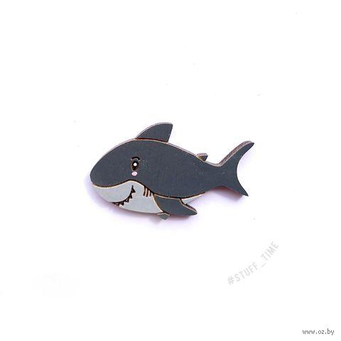 "Значок деревянный ""Акула"" — фото, картинка"