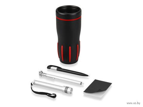 Набор для автомобилиста (красный). Кружка с термоизоляцией (450 мл), приспособление для измерения давления в шинах, фонарик, ручка, блокнот
