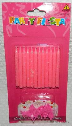 Набор свечей для торта (12 шт, 6 см) + держатели (12 шт, арт. SD-006)
