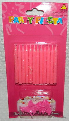 Набор свечей для торта с держателями (12 шт.; 6 см; арт. SD-006)