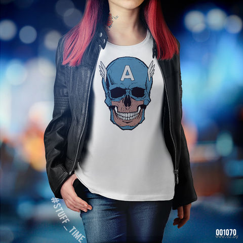"Футболка женская ""Капитан Америка"" XS (1070)"