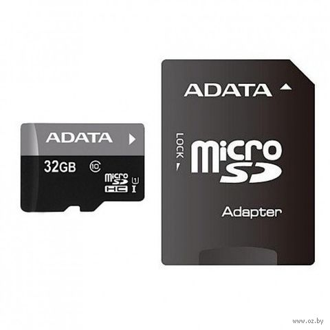 Карта памяти SDHC-micro 32GB A-Data AUSDH32GUICL10-RA1 Class 10 UHS-I + SD Adapter — фото, картинка
