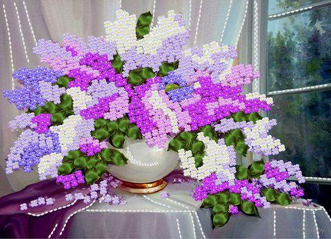 """Вышивка лентами """"Сирень"""" (360х260 мм) — фото, картинка"""