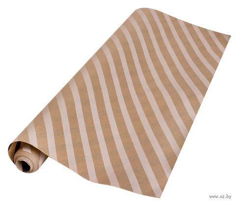 """Крафт-бумага упаковочная """"Косые белые полосы на крафте"""" — фото, картинка"""