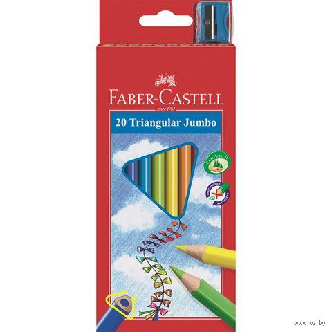 Трехгранные цветные карандаши JUMBO в картонной коробке (20 цветов + точилка)