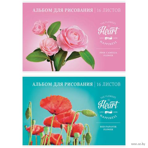 """Альбом для рисования А4 """"Цветы. Love & Happiness"""" (12 листов)"""