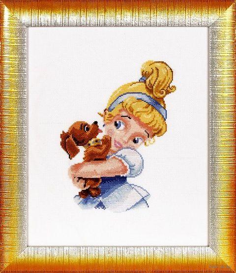 """Вышивка крестом """"Девочка с собачкой"""" (160х220 мм) — фото, картинка"""