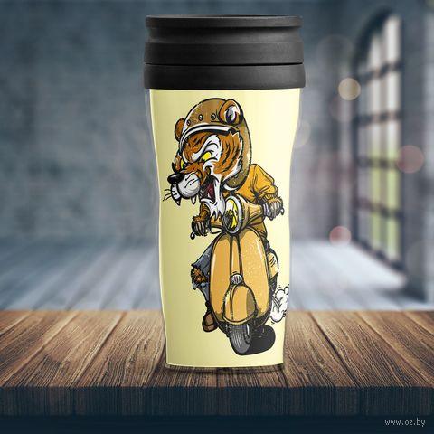 """Термостакан """"Тигр на мотоцикле"""" — фото, картинка"""