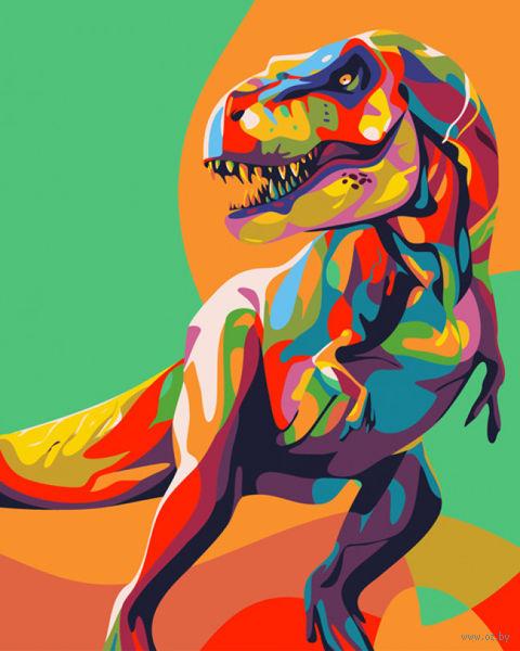 "Картина по номерам ""Радужный динозавр"" (500х400 мм) — фото, картинка"
