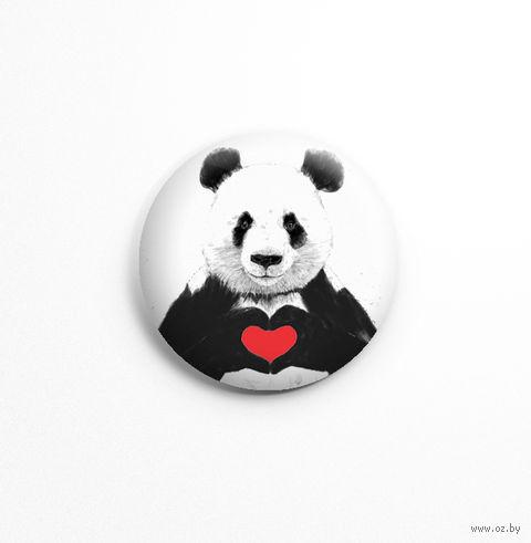 """Значок маленький """"Панда с сердцем"""" (арт. 261) — фото, картинка"""