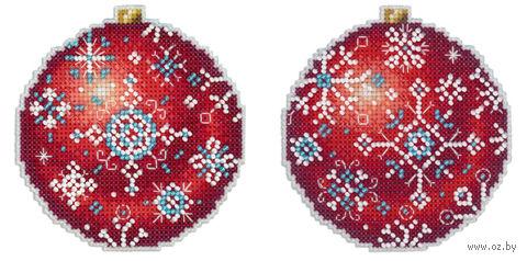 "Вышивка крестом ""Шар. Морозный рубин"" (90х90 мм) — фото, картинка"