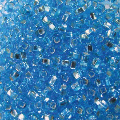 Бисер прозрачный с серебристым центром №67010 (синий; 10/0)