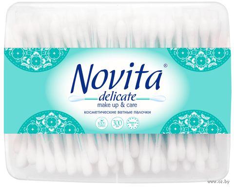"""Ватные палочки """"Novita Delicate"""" (банка; 300 шт.) — фото, картинка"""