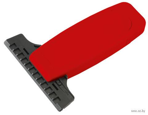 Скребок для очистки стекол автомобиля от снега и льда со сменной прорезиненной насадкой (красный)