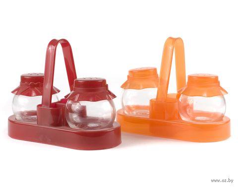 """Набор для специй стеклянный """"Шляпки"""" (2 пр. с пластмассовыми крышками 60 мл, пластмассовая подставка для зубочисток)"""