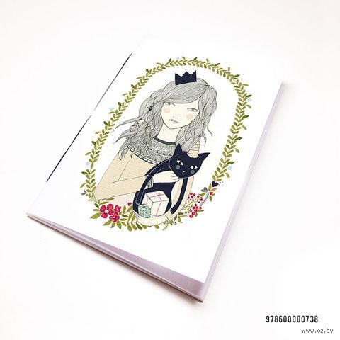 """Блокнот белый """"Девушка с котиком"""" А7 (738)"""