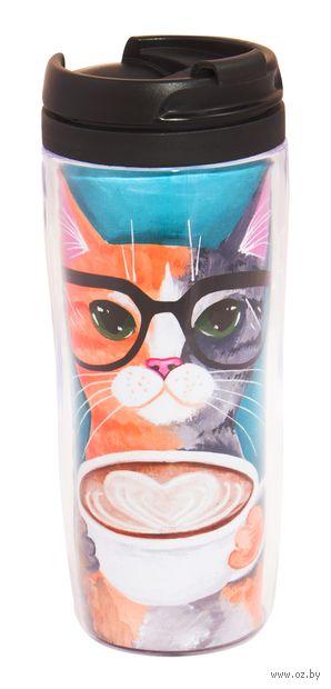"""Термостакан """"Котик с кружкой кофе"""" — фото, картинка"""