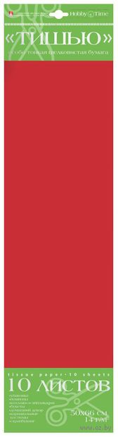 Бумага тишью (50х66 см; красная; 10 шт.) — фото, картинка