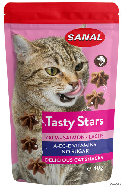"""Лакомство для кошек """"Tasty Stars Salmon"""" (40 г; лосось) — фото, картинка"""