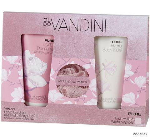 """Подарочный набор """"Aldo Vandini. Pure"""" (гель для душа, флюид для тела, мочалка) — фото, картинка"""