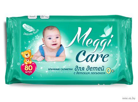 """Влажные салфетки детские """"Meggi Care. С детским лосьоном"""" (80 шт.) — фото, картинка"""