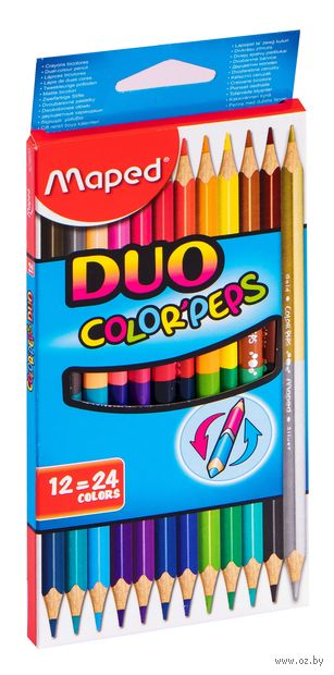 """Набор карандашей цветных """"Color Peps Duo"""" (12 шт.; 24 цвета) — фото, картинка"""