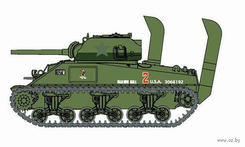 """Легкий танк """"Sherman M4 Normandy w/Deep Wading Kit"""" (масштаб: 1/72) — фото, картинка"""