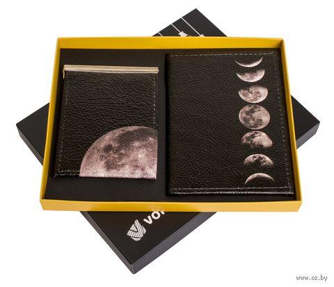 """Подарочный набор """"Луна"""" (обложка на паспорт и зажим для денег) — фото, картинка"""