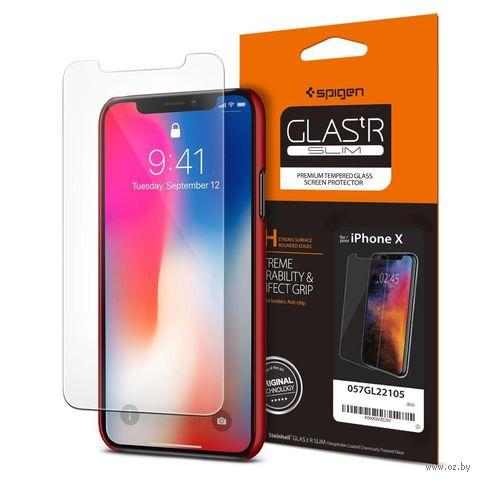 """Защитное стекло для Spigen iPhone X """"Glas.tR SLIM"""" (1шт) (057GL22105) — фото, картинка"""