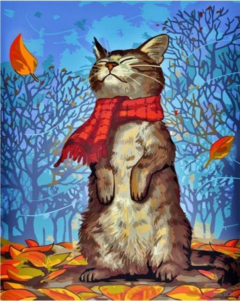 "Картина по номерам ""Кот в шарфе"" (500х400 мм) — фото, картинка"