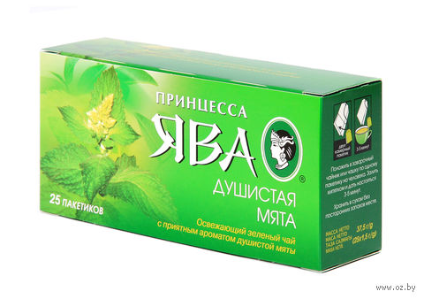 "Чай зеленый ""Принцесса Ява. Душистая мята"" (25 пакетиков) — фото, картинка"