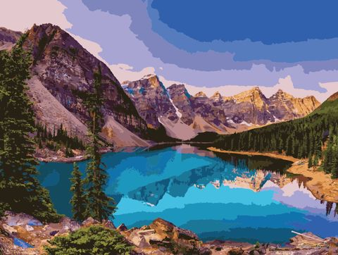 """Картина по номерам """"Озеро в горах"""" (400х500 мм) — фото, картинка"""