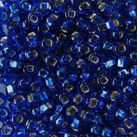 Бисер прозрачный с серебристым центром №67300 (синий; 10/0)