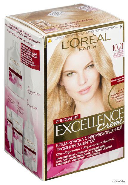 """Крем-краска для волос """"Excellence"""" (тон: 10.21, светло-светло-русый перламутровый осветляющий) — фото, картинка"""