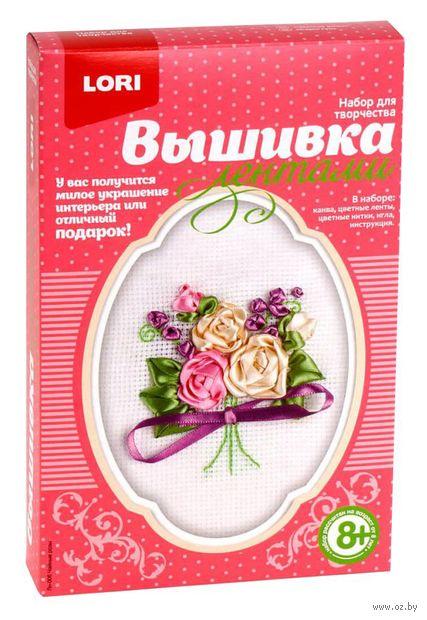 """Вышивка лентами """"Чайные розы"""" (120х90 мм) — фото, картинка"""