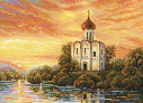 "Алмазная вышивка-мозаика ""Церквушка у реки"" (360х260 мм) — фото, картинка"