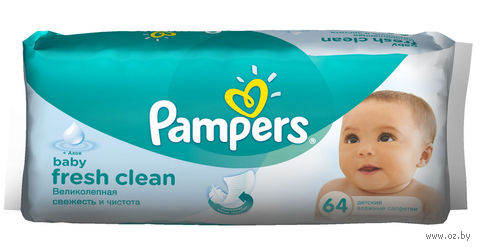 """Влажные салфетки детские """"Pampers Fresh Clean"""" (64 шт.)"""