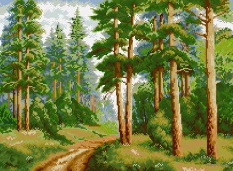 """Алмазная вышивка-мозаика """"В сосновом лесу"""" (560х410 мм) — фото, картинка"""